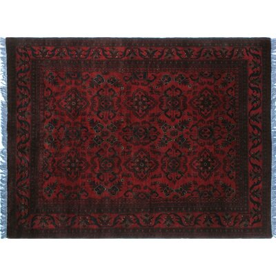 One-of-a-Kind Alban Tribal Hand-Knotted Red Oriental Fringe Border Area Rug