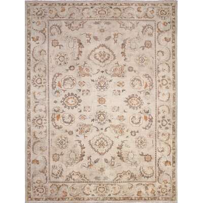 Leann Hand-Knotted Light Tan Wool Area Rug