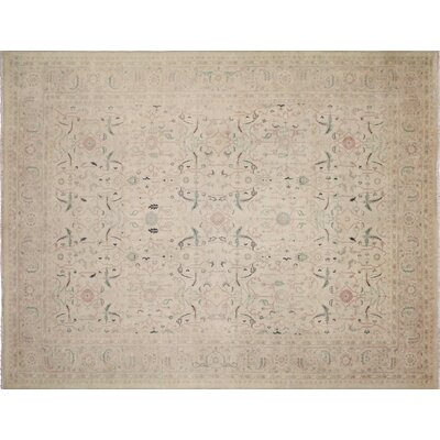 Leann Hand-Knotted Traditional Ivory Area Rug
