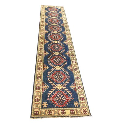 Kazak Adam Hand-Knotted Blue Area Rug