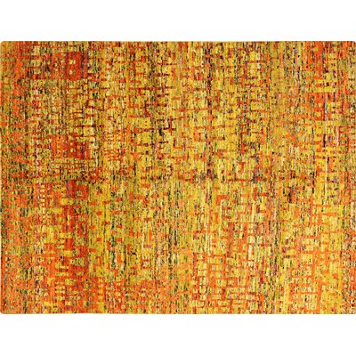 Sari Silk Earline Hand-Knotted Gold Area Rug