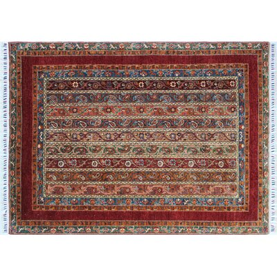 Acer Hand-Knotted Rectangle Red Fringe Area Rug