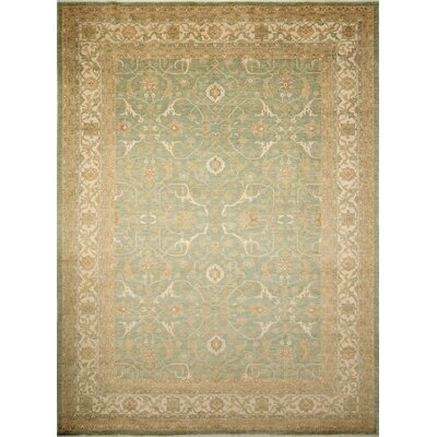 Leann Hand-Knotted Light Green Indoor Area Rug