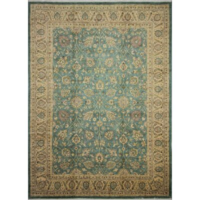 One-of-a-Kind Leann Hand-Knotted Oriental Rectangle Green Area Rug