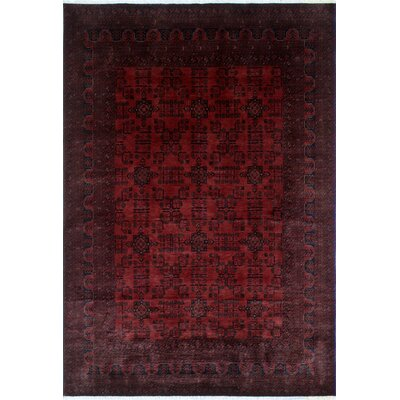 One-of-a-Kind Alban Geometric Pattern Hand-Knotted Rectangle Red Area Rug