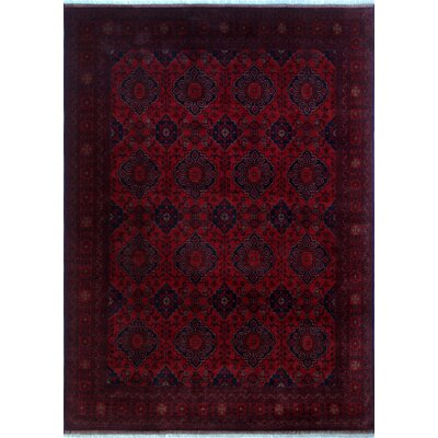 Alban Hand-Knotted Rectangle Red Border Area Rug