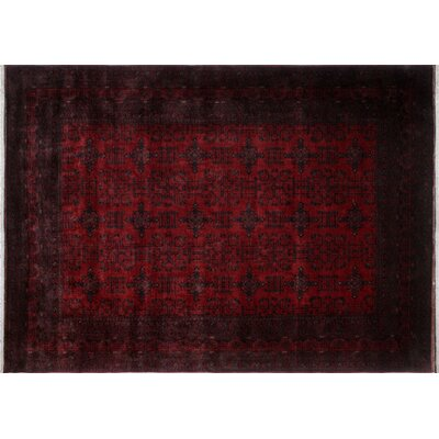 Alban Neutral Oriental Hand-Knotted Red Area Rug