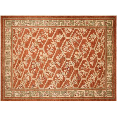 One-of-a-Kind Leann Hand-Knotted Rust Wool Area Rug