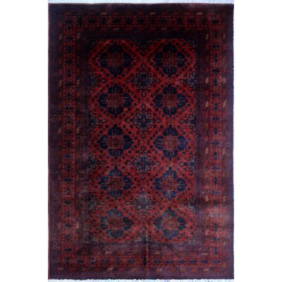 Alban Tribal Hand-Knotted Rectangle Red Area Rug