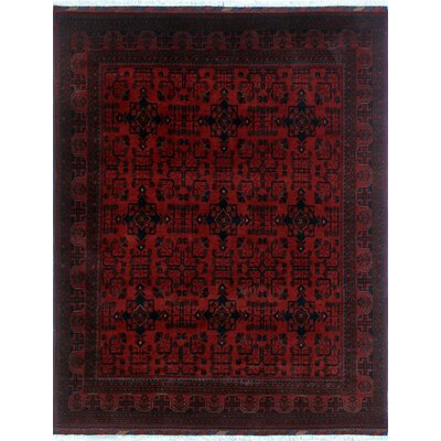 One-of-a-Kind Alban Hand-Knotted Red Geometric Fringe Area Rug