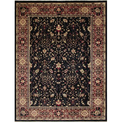 One-of-a-Kind Leann Hand-Knotted Rectangle Black Wool Area Rug