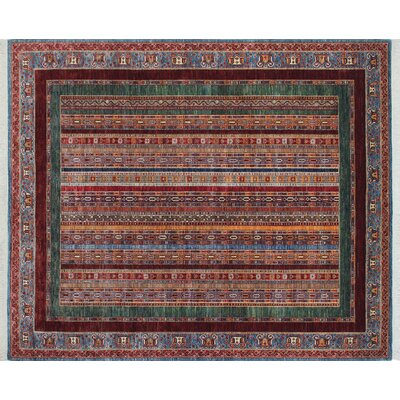 One-of-a-Kind Acer Hand-Knotted Blue Fringe Area Rug