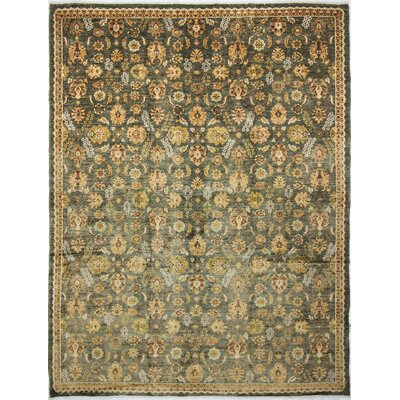 Leann Hand-Knotted Rectangle Green Wool Area Rug