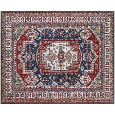 One-of-a-Kind Kazak Super Abzari Hand-Knotted Blue Area Rug