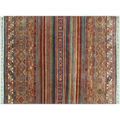 Acer Hand-Knotted Red Premium Wool Fringe Area Rug