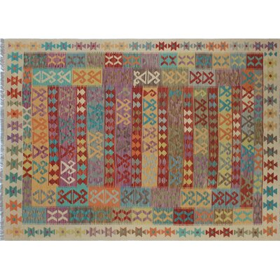 One-of-a-Kind Kilim Zain Hand-Woven Ivory Area Rug
