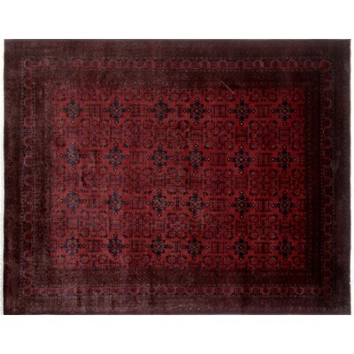 Alban Neutral Hand-Knotted Red Indoor Area Rug