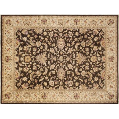 Leann Hand-Knotted Rectangle Brown Wool Indoor Area Rug