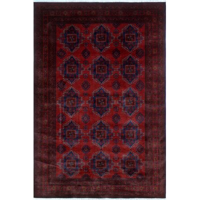 One-of-a-Kind Alban Hand-Knotted Red Geometric Border Area Rug