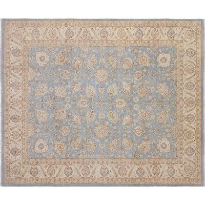 One-of-a-Kind Leann Hand-Knotted Oriental Light Blue Area Rug