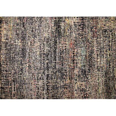 Sari Silk Lilliana Hand-Knotted Black Area Rug
