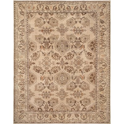 One-of-a-Kind Leann Low-Pile Hand-Knotted Beige Area Rug