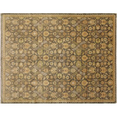 One-of-a-Kind Leann Hand-Knotted Oriental Green Area Rug