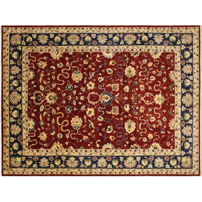 Leann Hand-Knotted Red Indoor Wool Area Rug
