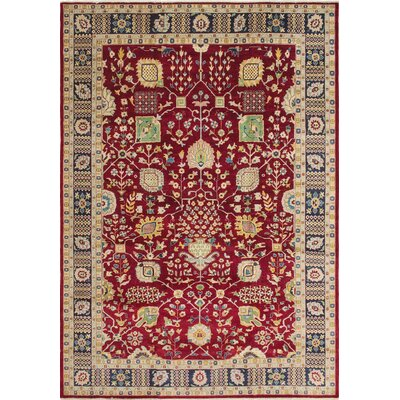 Leann Hand-Knotted Rectangle Red Indoor Area Rug
