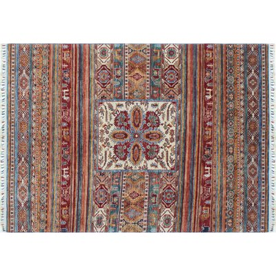 Acer Neutral Hand-Knotted Rectangle Red Area Rug