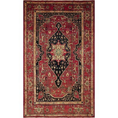 One-of-a-Kind Leann Hand-Knotted Medallion Rust Wool Indoor Area Rug