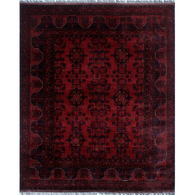 Alban Hand-Knotted Rectangle Red Oriental Border Area Rug