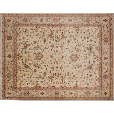 One-of-a-Kind Leann Hand-Knotted Rectangle Ivory Premium Wool Area Rug