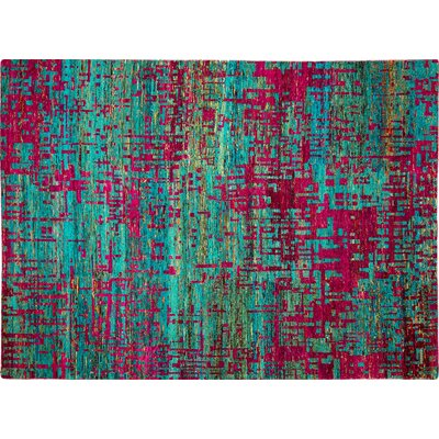 Sari Silk Eddie Hand-Knotted Teal Blue Area Rug