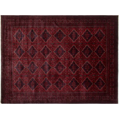 Alban Neutral Hand-Knotted Rectangle Red Area Rug