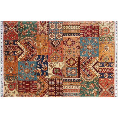 Acer Hand-Knotted Rectangle Rust Premium Wool Area Rug