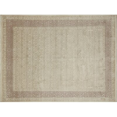 One-of-a-Kind Tabriz Indo Alfie Hand-Knotted Ivory Area Rug