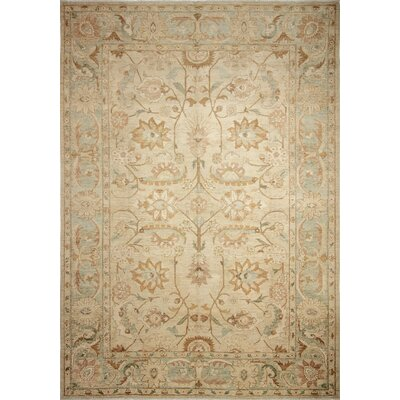 Leann Hand-Knotted Rectangle Beige Indoor Area Rug