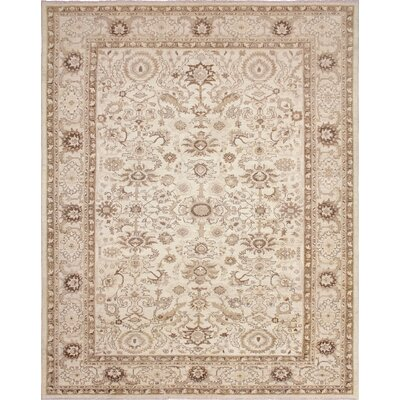 One-of-a-Kind Leann Hand-Knotted Ivory/Brown Area Rug