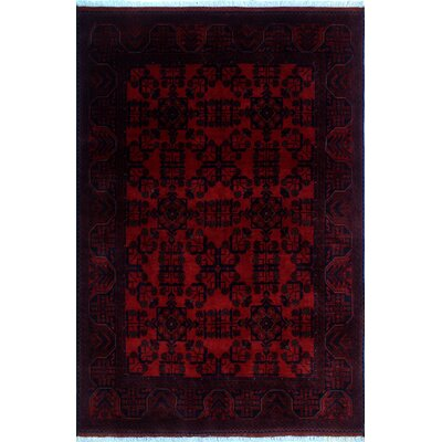 One-of-a-Kind Alban Hand-Knotted Red Border Area Rug