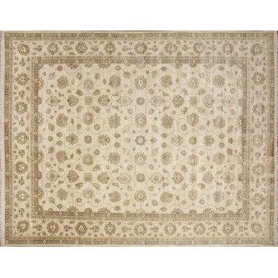 Leann Hand-Knotted Oriental Rectangle Ivory Premium Wool Area Rug