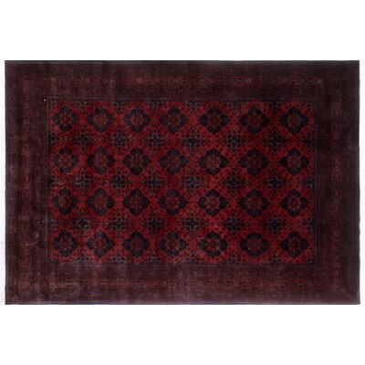Alban Border Hand-Knotted Red Wool Area Rug