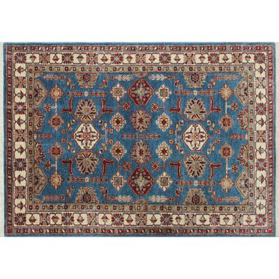 One-of-a-Kind Kazak Super Amra Hand-Knotted Blue Area Rug