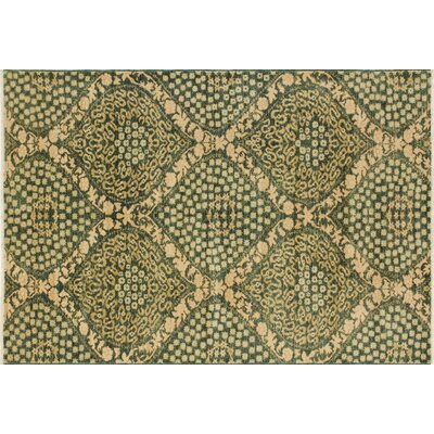 Leann Hand-Knotted Oriental Green Wool Area Rug