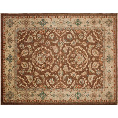 Leann Hand-Knotted Oriental Rectangle Brown Indoor Area Rug