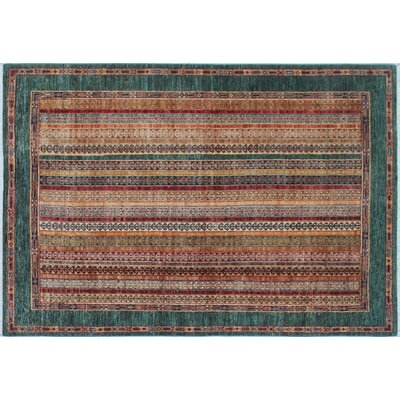 One-of-a-Kind Acer Hand-Knotted Rectangle Green Area Rug