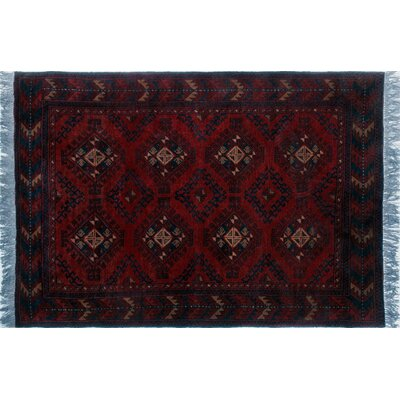 One-of-a-Kind Alban Tribal Hand-Knotted Rectangle Red Fringe Area Rug