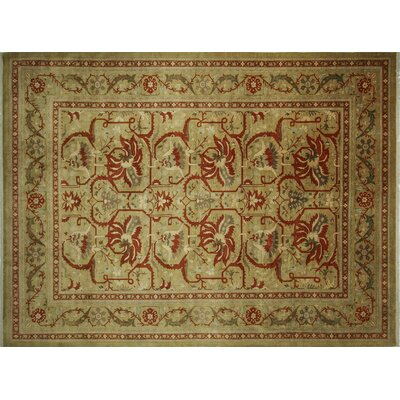 Versailles Jumakiz Hand-Knotted Light Green Area Rug