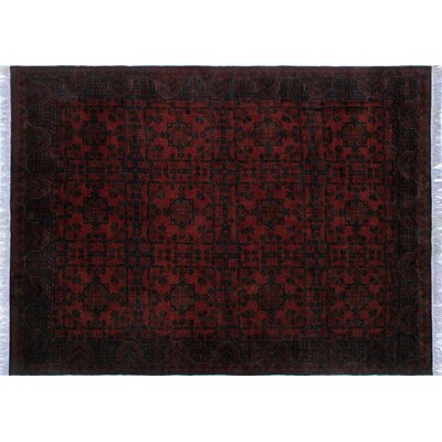One-of-a-Kind Alban Hand-Knotted Rectangle Red Premium Wool Oriental Area Rug
