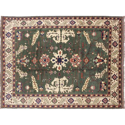 One-of-a-Kind Karghi Zebara Hand-Knotted Green Area Rug